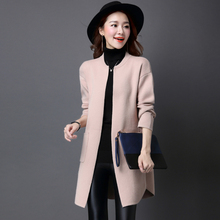 2016 autumn and winter new Korean Women long sections loose round neck solid color coat wealthy A063