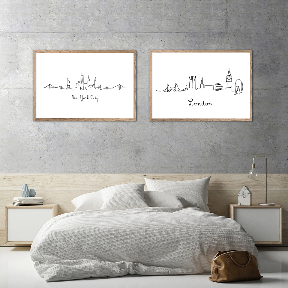 Abstract-City-London-NY-Line-Drawing-Nordic-Posters-Prints-Modern-Canvas-Painting-Wall-Minimalist-Picture-For (2)