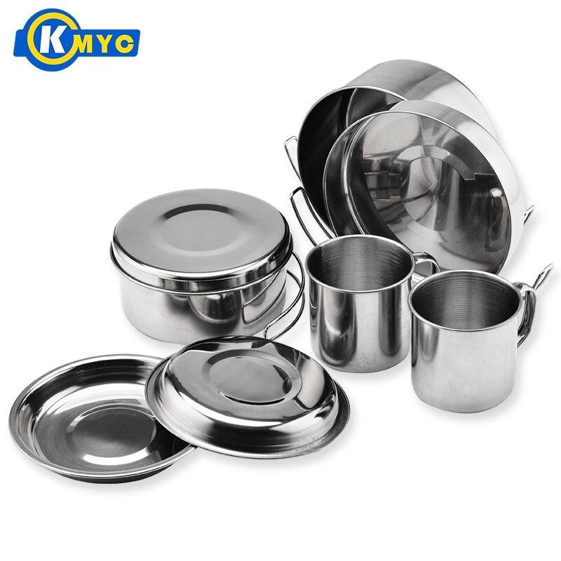 KMYC 8 pièces en acier inoxydable sac à dos batterie de cuisine Drinkware léger Pots assiettes tasses avec Portable sac randonnée Set stockage contenir