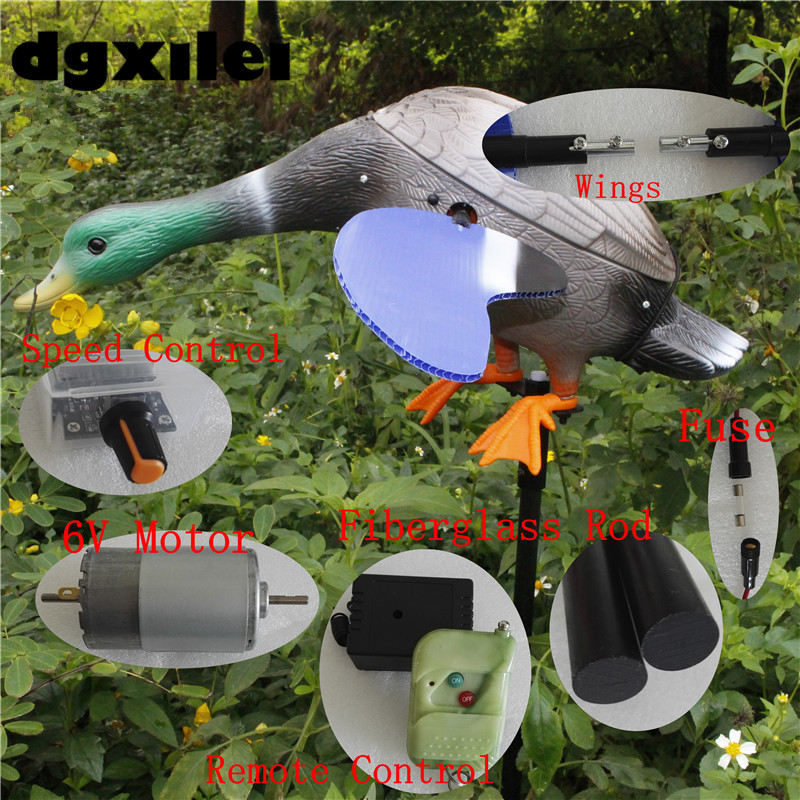 Xilei Turkey Outdoor Hunting Duck Decoy Remote Control 6V Plastic Green Head Decoy Duck Motor Decoy With Magnet Spinning Wings 2017 xilei ducks decoy electric flying duck decoy duck with remote control with spinning wings