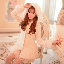 Милое белое шерстяное пальто принцессы, многослойное кружевное многослойное украшение, воротник до груди, с капюшоном, японский дизайн C16CD5914