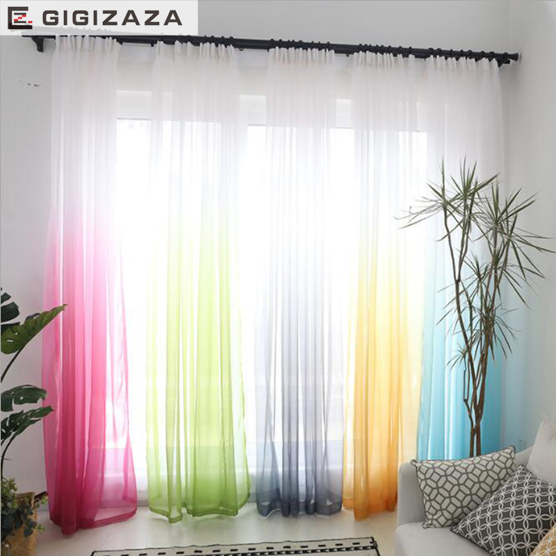 High grade 3D printed gradient color voile modern curtains for living room divider blue green sheer kitchen Chinese window