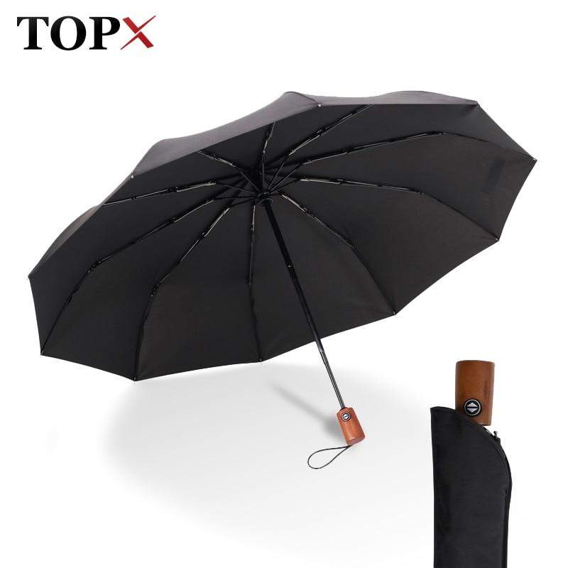 TOPX Super Strong Big Wood Hand Umbrella Business Men/Women Automatic Umbrella Wide Windproof Gift Umbrella Wholesale prices