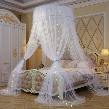 Charmant Princess Mosquito Net Double Bed Curtains Sleeping Curtain Bed Canopy Net  Full Queen King Size Net 120cm Diamter Led Light Gift