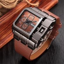 2019 Sport Men Square Dial 6 Hands Faux Leather Strap Band Analog Quartz Wrist Watch