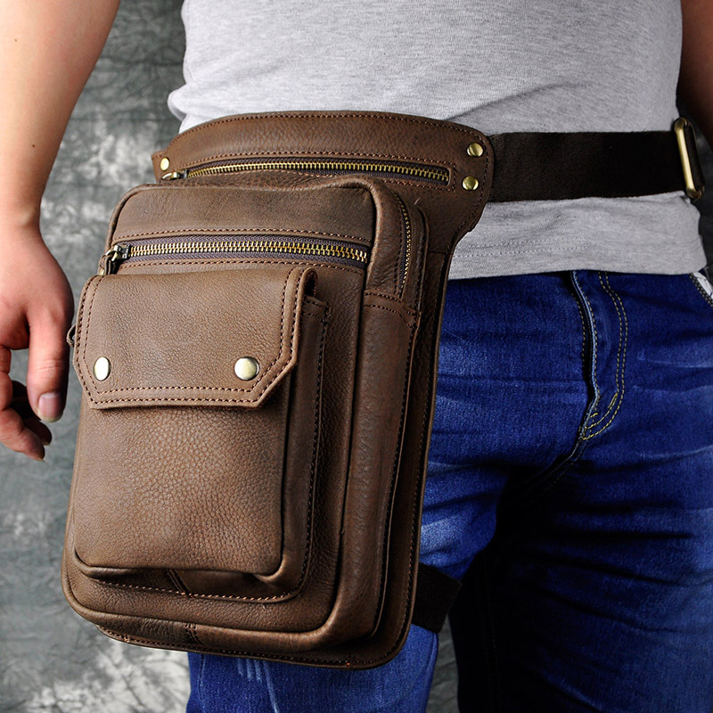 First Layer Crazy Horse Cowhide Men Waist Leg Motorcycle Rider Belt Bag Drop Thigh Pouch Genuine Leather Shoulder Messenger Bags
