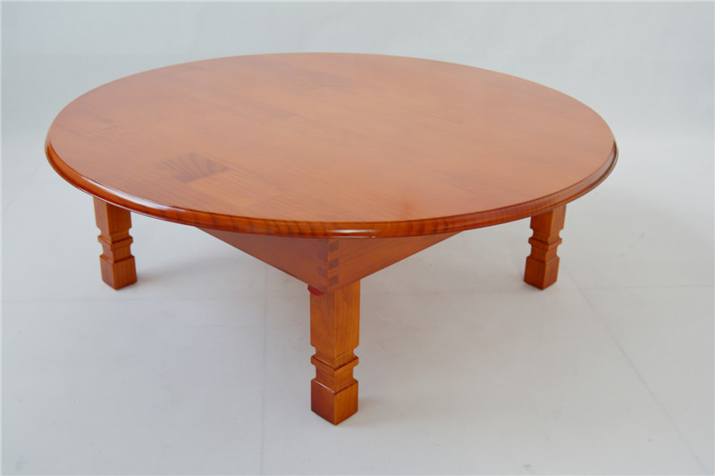 Modern Round Table Folding Legs 80cm Natural Cherry Finish Living Room Furniture Large Low Round Coffee Table Solid Pine Wood