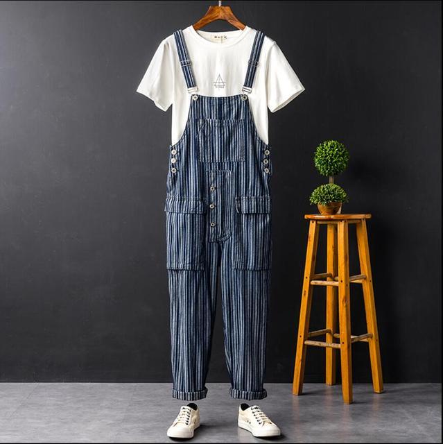 cf8f74287b5 S-XXL Japanese style fashion bib pants men s denim jumpsuit striped big pocket  overalls men s denim overalls hairstylist
