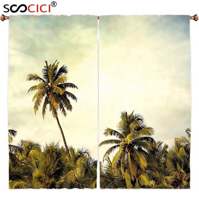 Window Curtains Treatments 2 Panels Palm Tree Decor Jungle Branch Backdrop With Skyline Pacific