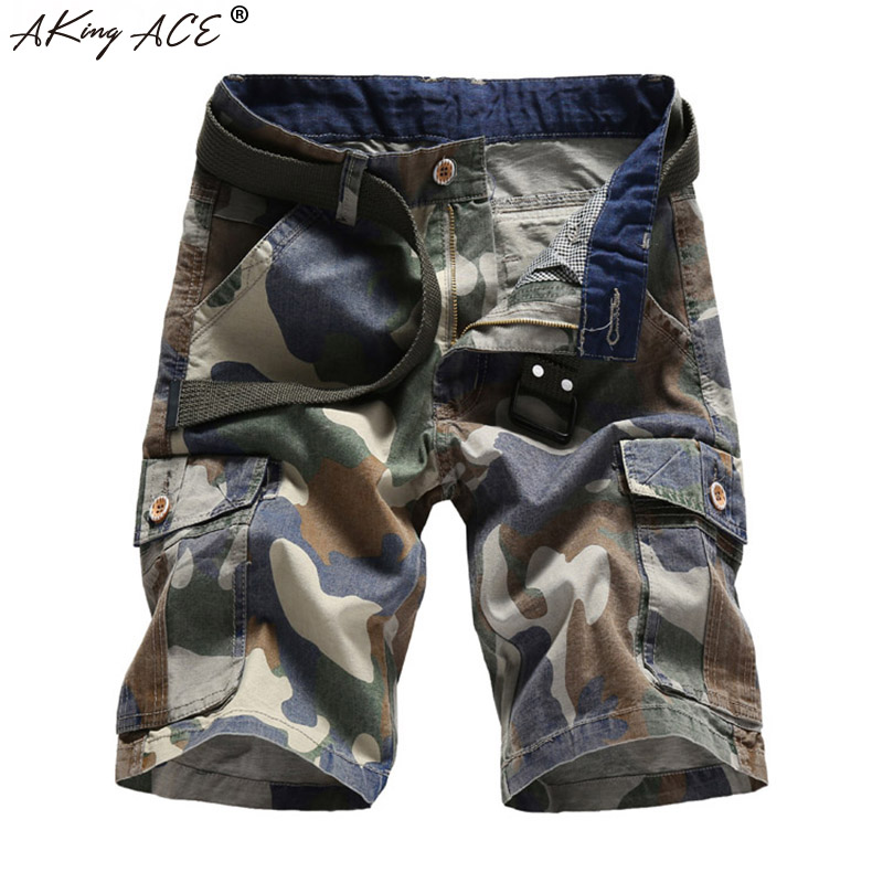 2018 AKing ACE Mens Camouflage Cargo shorts for man army mens camo shorts Baggy fashion plead brand short pants men ,ZA333