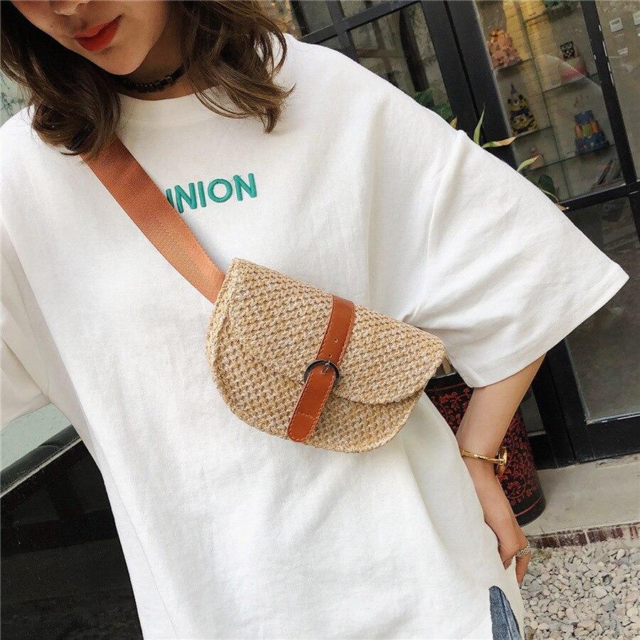 Vintage Straw Bags Rattan Woven Women Chest Bags Wicker Handmade Shoulder Bag Fashion Fanny Waist Pack Summer Beach Belts Purses