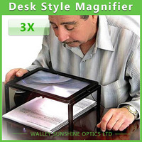 Free Shipping Desk Type Magnifying Glass Big Lens Illuminated Magnifier With 4 LED Lamps Reading Loupe