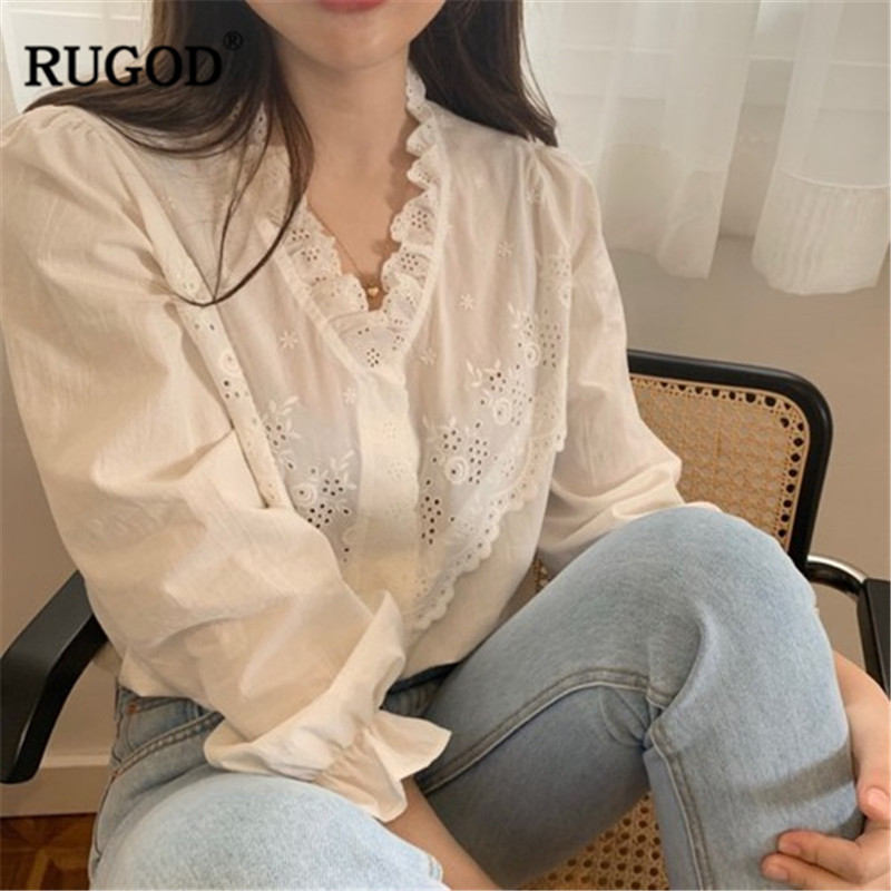 RUGOD V neck women blouses patchwork hollow out lace edge white solid elegant vintage korean style modis femme blusas mujer in Blouses amp Shirts from Women 39 s Clothing