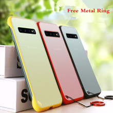 Metal Finger Ring Frameless Transparent Matte Hard PC Phone Case For Samsung Galaxy S10 / Plus