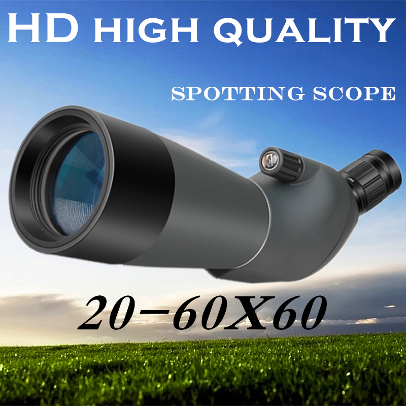 Telescope 20-60X60 Porro BAK4 Prism Target Spotting Scope For Birdwatching High times Zoom Telescope Astronomical Free Tripod waterproof spotting scope 20 60x60 for birdwatching long range target shooting spotting scope with tripod phone adapter