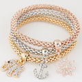 2016 Femme Anchor & Elephant Pendant Charm bracelet rhinestone Vintage Fashion multilayer cuff bracelets & bangles for Women