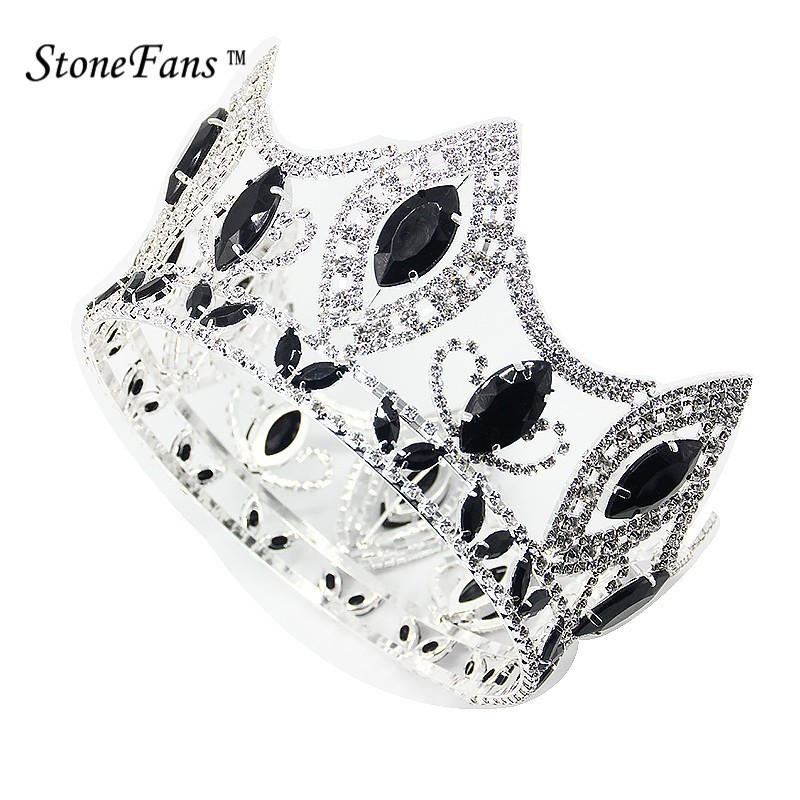 все цены на StoneFans Hair Jewelry Big Queen Bride Round Crown Wedding Colors Round Black Cubic Zircon Crown King Royal tiaras and crowns онлайн