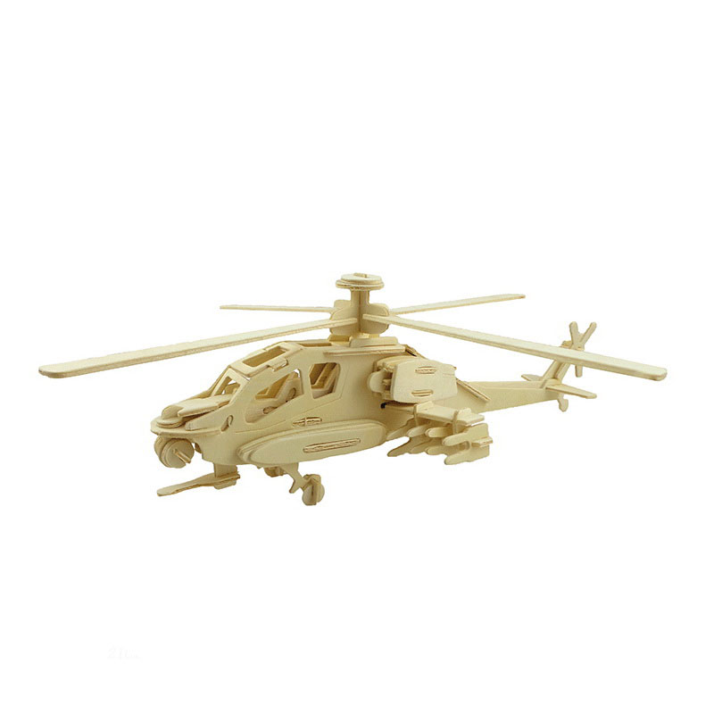 Educational Toys Wooden Scale Model Apache 3D Puzzle Building Miniature DIY