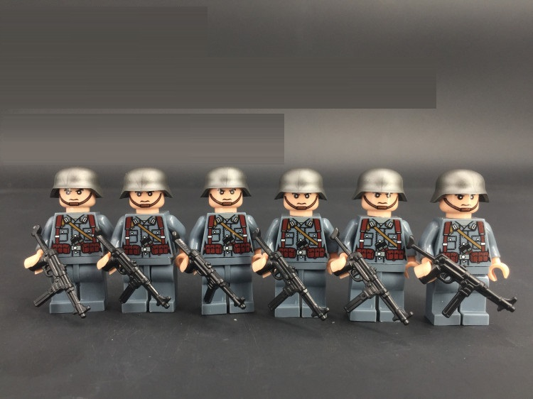 6pcs MP40 Submachine Military Gun Weapons City Police Parts Playmobil Mini Figures Building Block Brick Original Toys