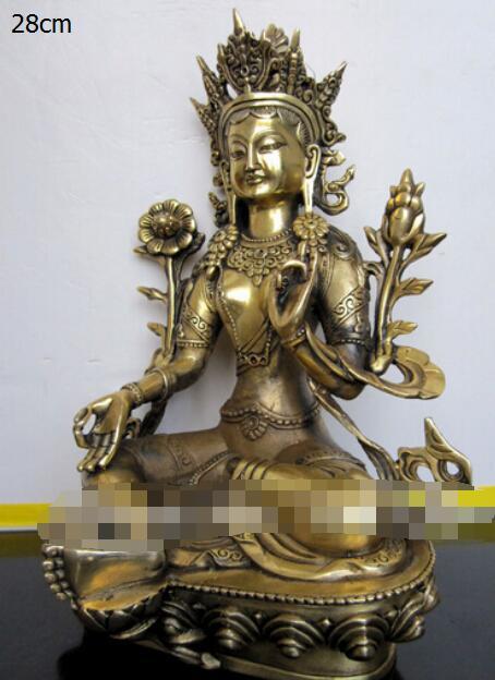 Vintage Buddhism Old Bronze God Buddha Bodhisattva Tara Green Old Statue 21cm
