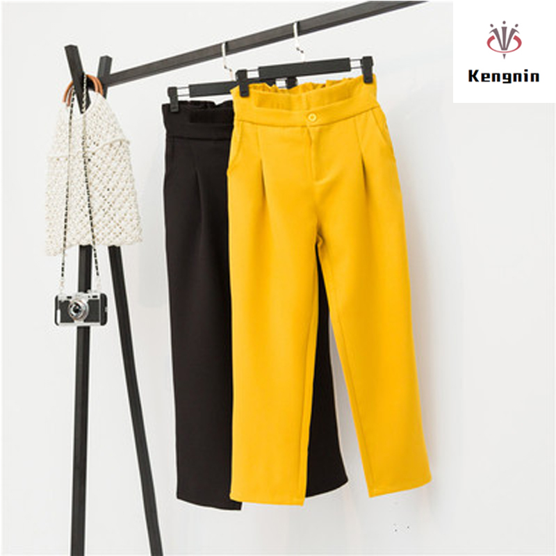 Plus Size XL- 5XL Summer 2019 Autumn Women Trousers Casual High Waist Bud Ladies Pants Loose Anklet Length Pant Street Capris