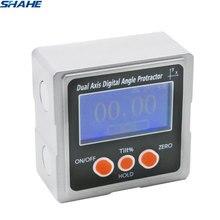 SHAHE Metall Dual axis Digital Neigungsmesser Winkelmesser Digitale Winkel Finder Bevel Box mit 3-seite Magnet Basis Mit Hintergrundbeleuchtung