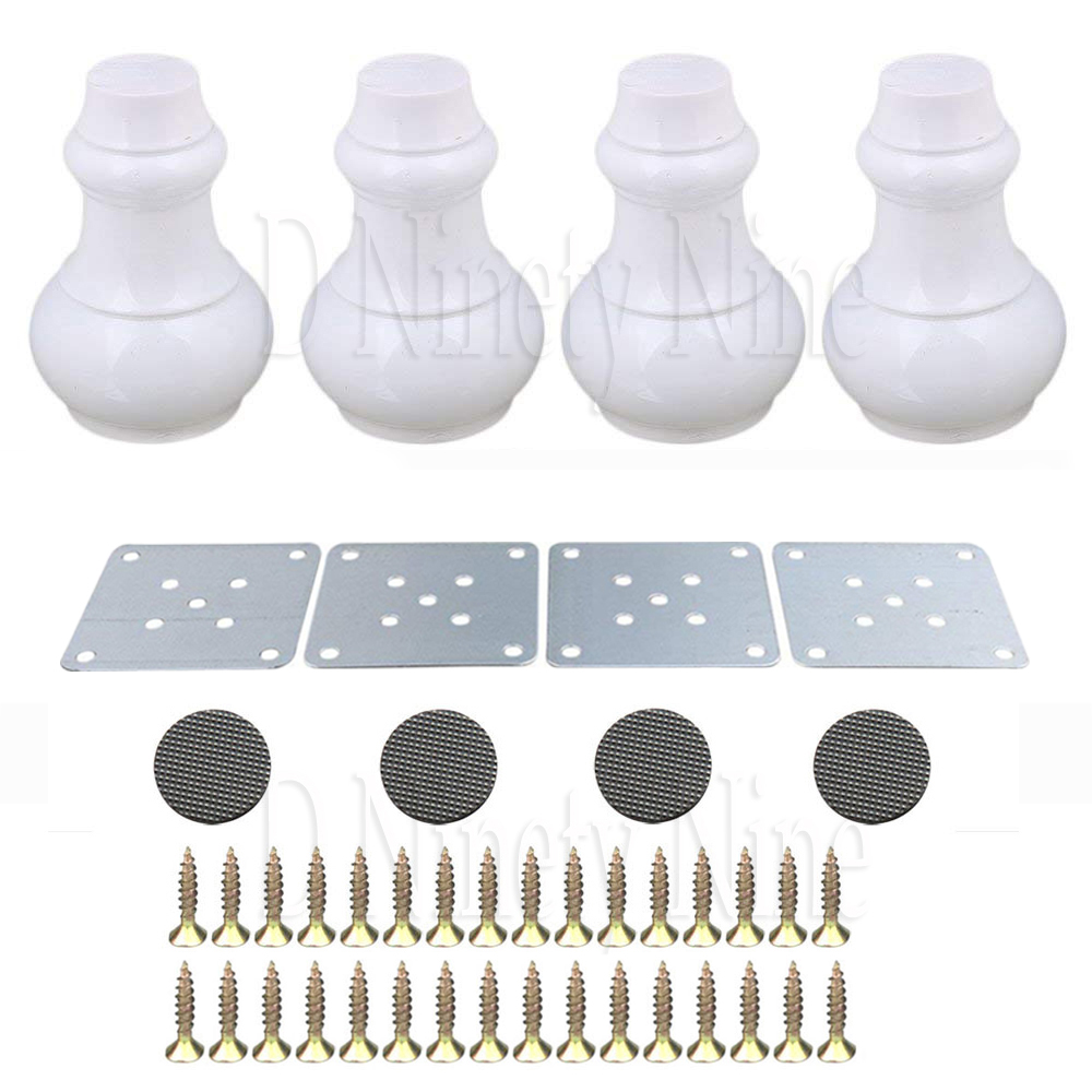 New12x6x3.5cm White&Black Wood Gourd-shaped Furniture Table Sofa Desk Legs Feet Pack Of 4