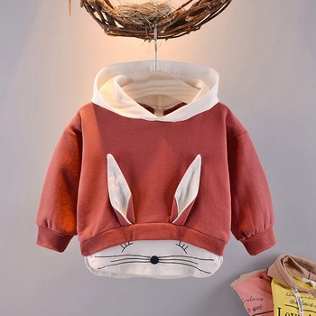 2019 spring Autumn Children Baby Babi Kids boys Long Sleeve cute sweet Cartoon rabbit Hooded Sweatshirts Outwear Coats C1817 1