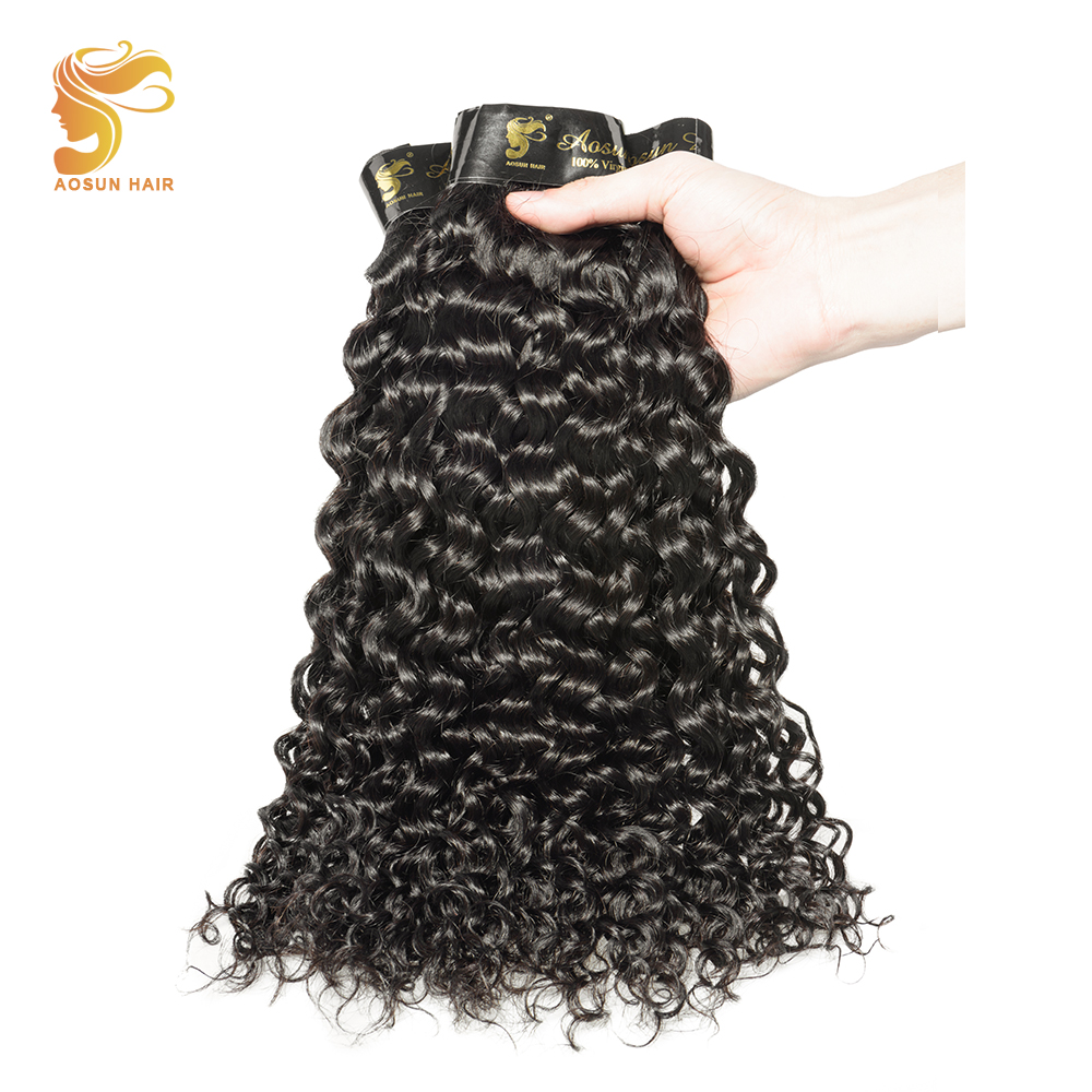 AOSUN Hair Italian Curly Peruvian Hair Weave Bundles Natural Color 3PCS 100% Human Hair Weaving 8-28 Inch Remy Hair Extension
