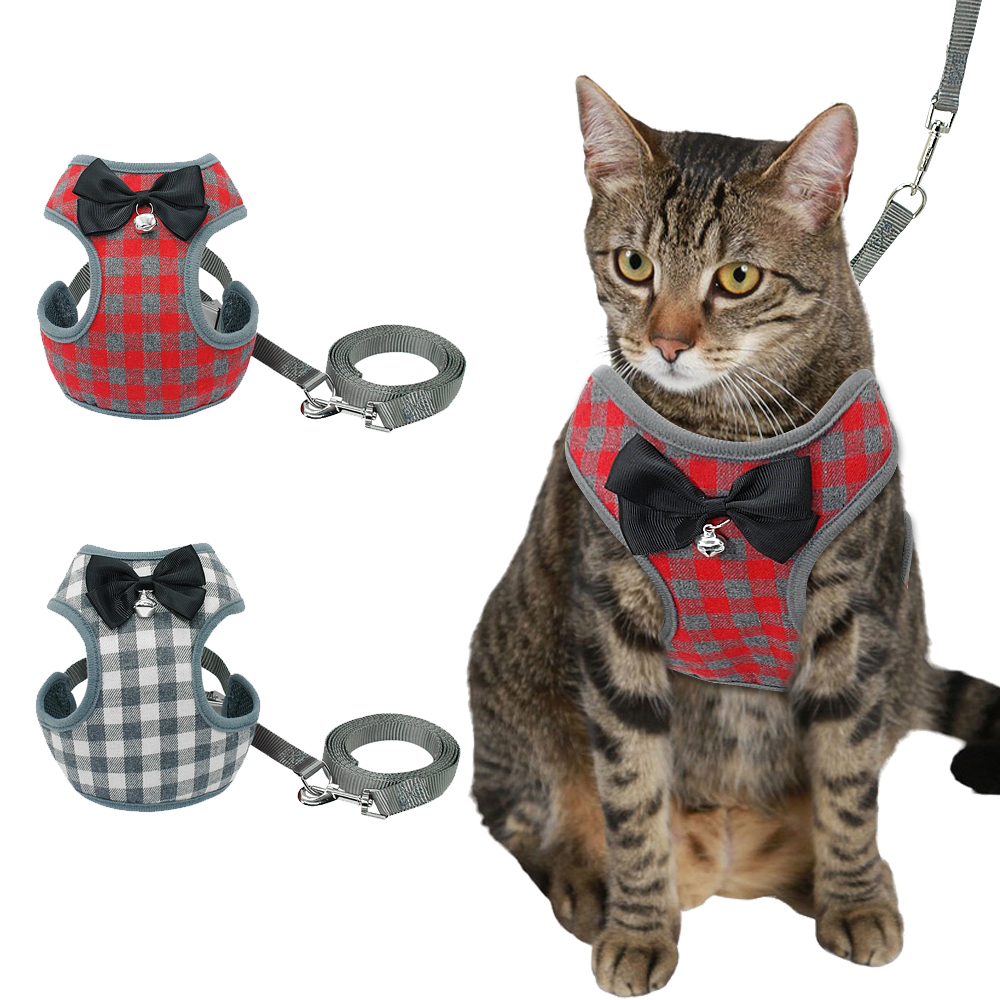 Cute Bowknot Nylon Cat Harness Breathable Mesh Bowtie Cat Kitten Dog Harness Pet Puppy Vest For Daily Walking Red Plaid
