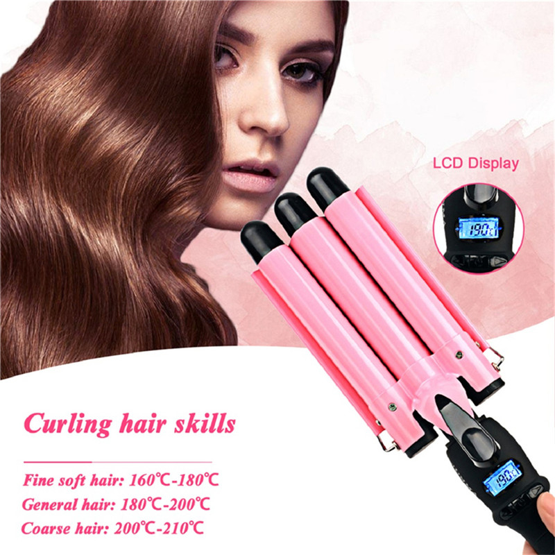 22/25/32MM LCD Automatic Triple Barrel Hair Curling Iron Corrugated Hair Curler Roller Ceramic Curling Wand Wave Styling Tools 3 in 1 straightening corrugated iron ceramic hair straightener and hair curler professional curling wand iron hair styling tools