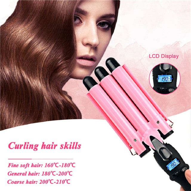 Aliexpress 22 25 32mm Lcd Automatic Triple Barrel Hair Curling Iron Corrugated Curler Roller Ceramic Wand Wave Styling Tools