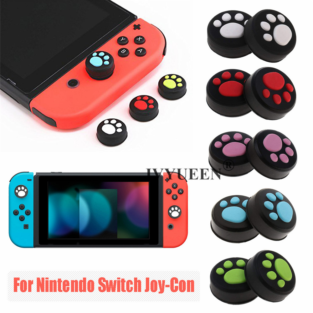 IVYUEEN 4 Pcs Silicone Thumb Grips Cover For Nintend Switch NS Joy Con Analog Stick Caps Skin For JoyCon Joystick Skin Grip