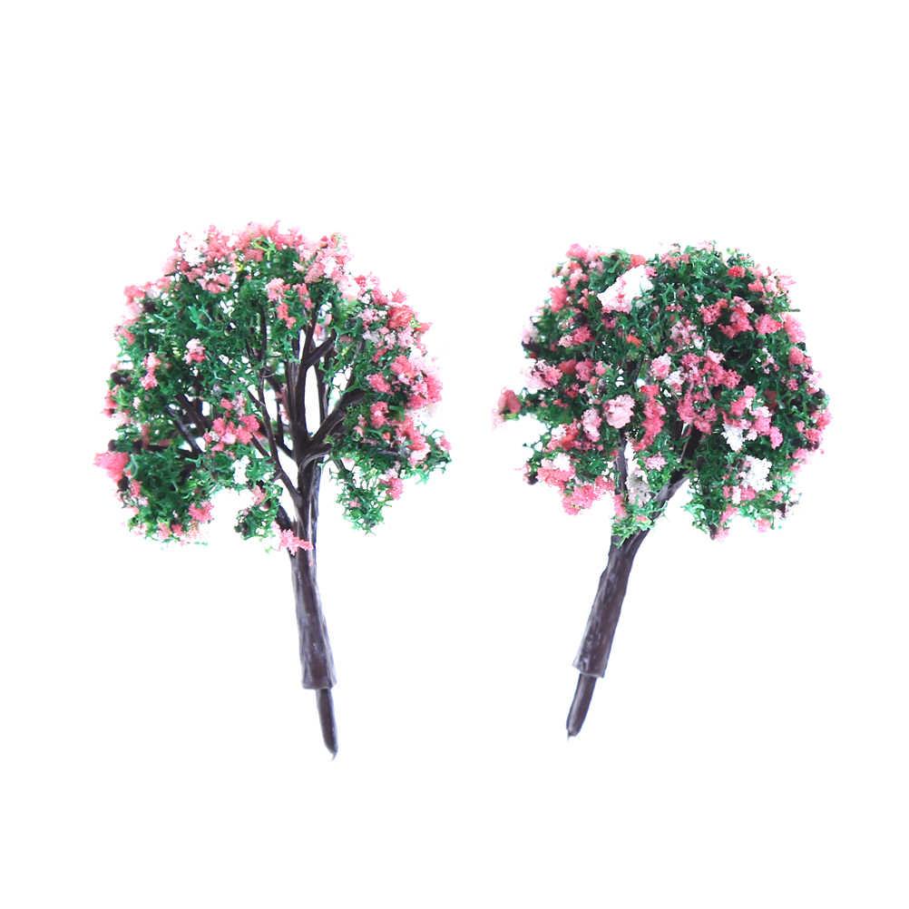 ZTOYL 10 sztuk/zestaw mini mieszane kolory wykwintne kwiat model pociągu HO drzewa w kształcie piłki krajobraz krajobraz 1/87 skala