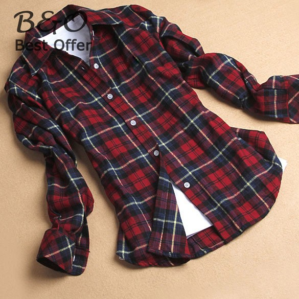 2019 Fashion Style Womens Flannel Shirt Red Plaid Blouse Long Sleeve Leisure Lapel Plaid Shirt Cotton Blouses Tops SV17 SV001033