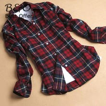 2014 Fashion Style Womens Flannel Shirt Red Plaid Blouse Long Sleeve Leisure Lapel Plaid Shirt Cotton Blouses Tops SV17 SV001033