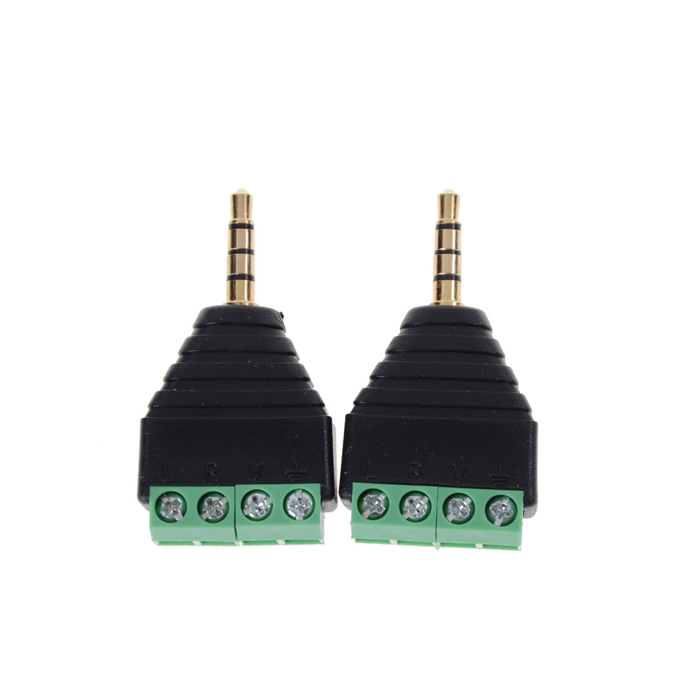 3.5mm Stereo Male Plug to AV Screw Video Balun Terminal Jack 3.5 mm Male 4 pin Terminal Block Plug Connector