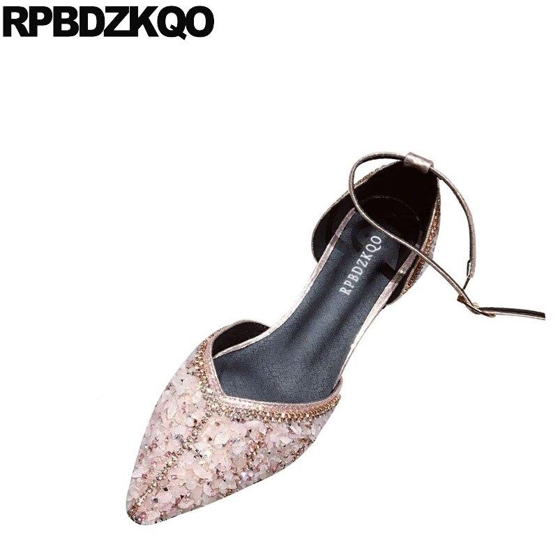 Diamant cheville sangle bout pointu sequin strass cristal paillettes femmes robe chaussures de mariage sandales scintillant designer rose