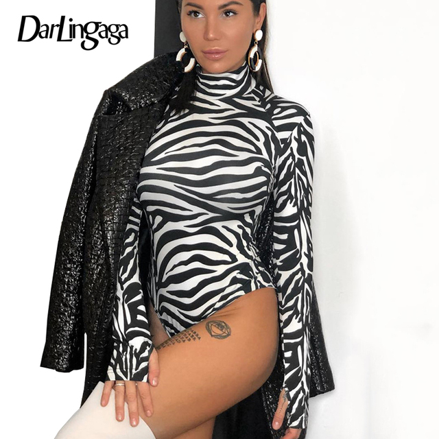 5e9a24aa0b70 € 9.41 43% de DESCUENTO|Darlingaga de manga larga de cuello alto con  estampado de cebra mono de mujer de moda para Fiesta club Cuerpo Otoño ...