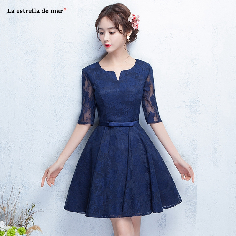 Vestido madrinha new lace sexy V neck half sleeve A Line navy blue red silver black   bridesmaid     dress   short wedding party gown