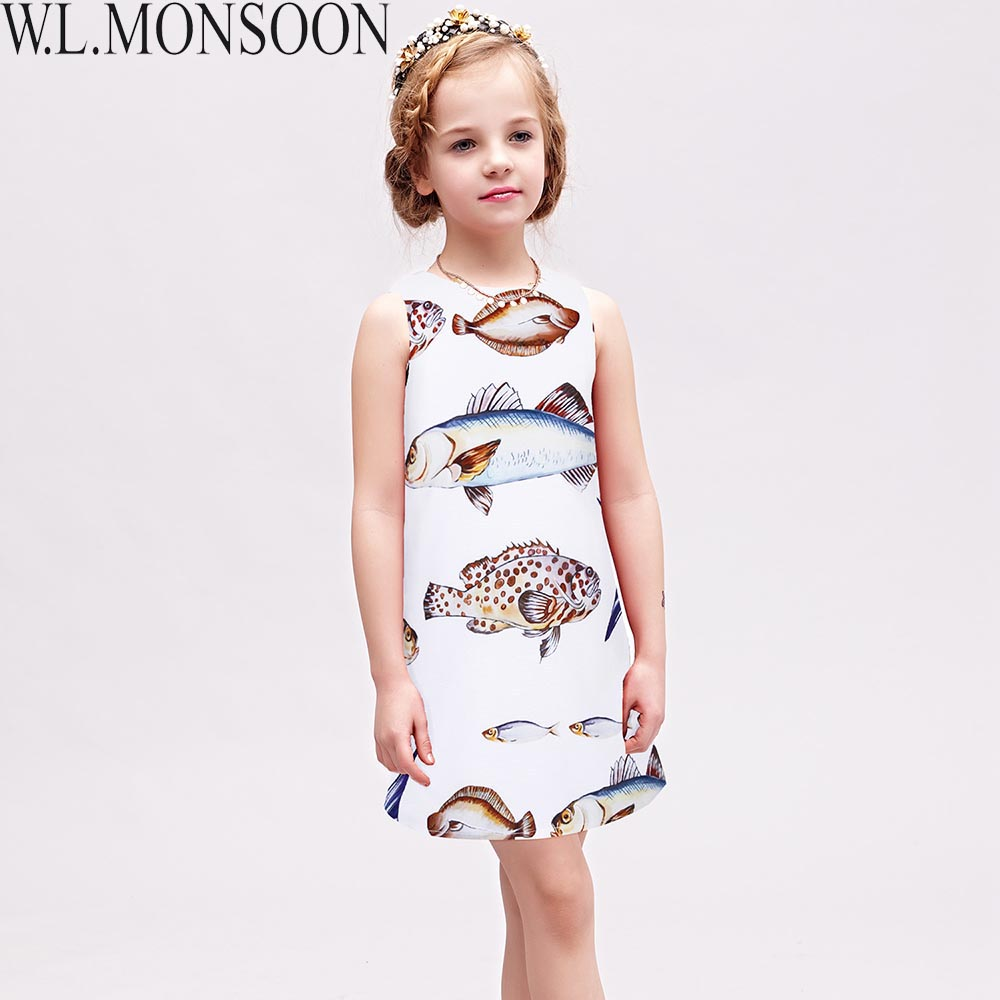 W.L.MONSOON Girls Dresses Fish Pattern Princess Summer Dress Kids Costumes Sleeveless Brand Children Clothing Robe Fille Enfant fashion girls dresses summer brand princess dress girl clothes floral print robe fille enfant kids dresses child costumes ld 015
