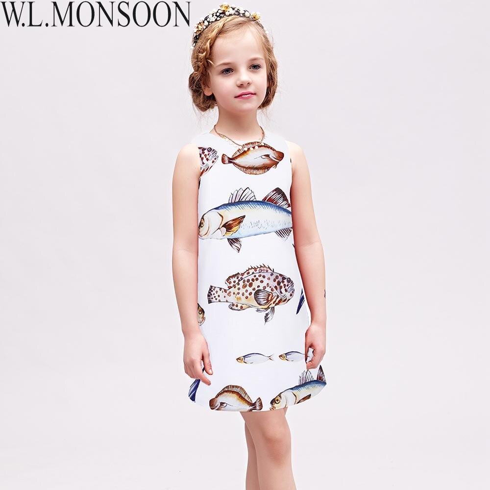 W. L. MONSOON Mädchen Kleider Fisch Muster Prinzessin Sommerkleid Kinder  Kostüme Ärmel Marke Kinder Kleidung Robe Fille Enfant