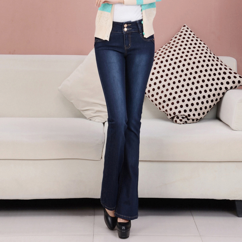 Plus Size Autumn   Jeans   Women High Waist Fall Two Buttons Flare Pants Blue Full Length Denim Trousers Female Slim   Jeans   P9130