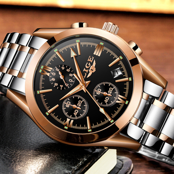 LIGE Men's Luxury Waterproof Chronograph Calendar Date Male Quartz Watches 2