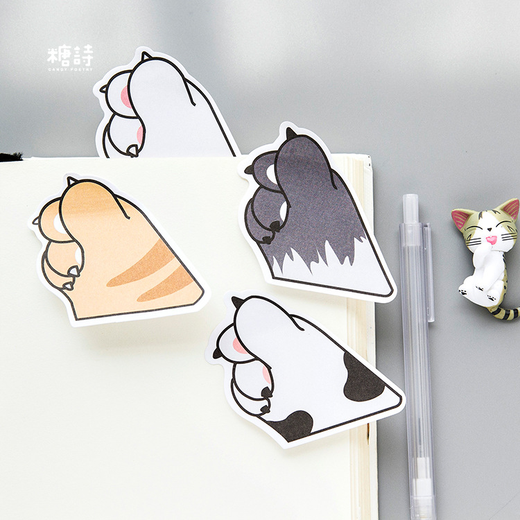 1PCS KAWAII animal Cat claw Memo Pad Self-Adhesive Self-Adhesive DIY POST IT Stationery STICKER NOTES 01933