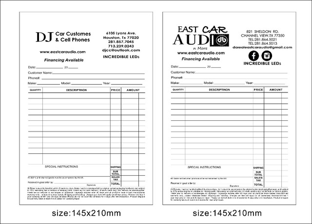 custom print a5 50pcs two copy carbonless paper invoice book free