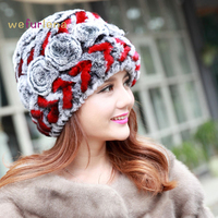 Women Genuine Knitted Rex Rabbit Fur Hats Natural Stripe Rex Rabbit Fur Caps Lady Winter Warm