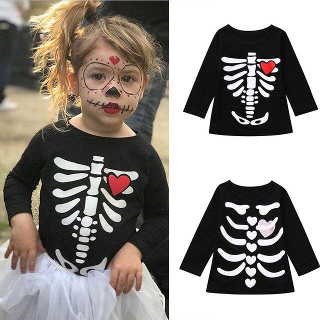 baby boys girl t shirt toddler infants kids skeleton print tops halloween costume for children long
