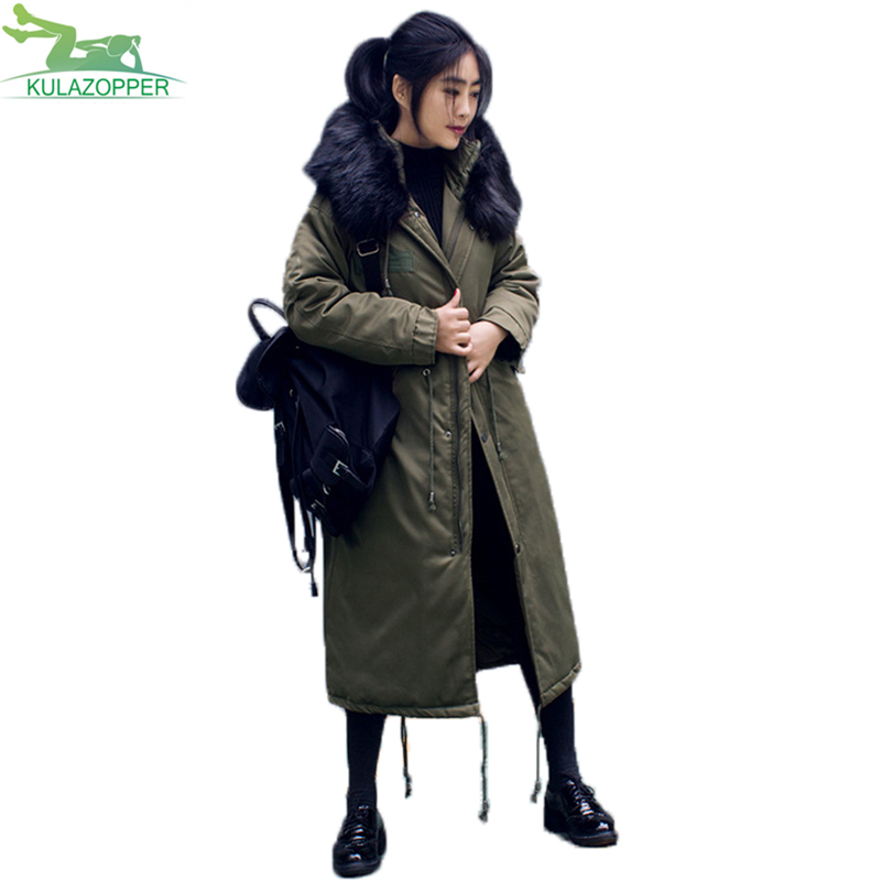women x-long parka winter thick warm padded feather cotton coat casual solid big fur collar hooded outwear for female QW456 women winter coat leisure big yards hooded fur collar jacket thick warm cotton parkas new style female students overcoat ok238