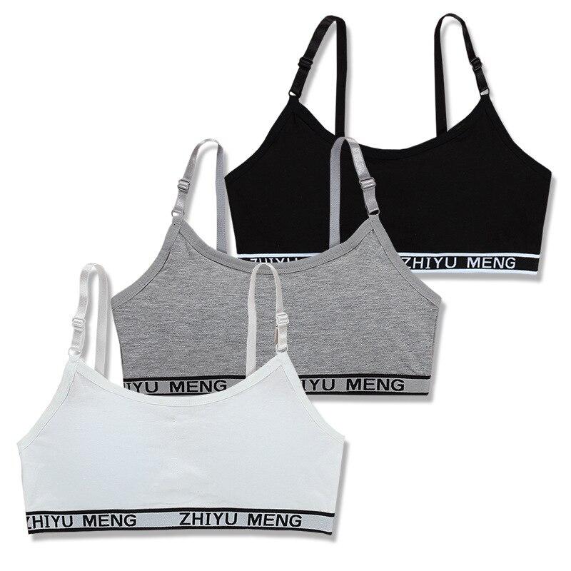 2pc/lot Teens Girls Sports Bra Puberty Underwear Wireless Teenager Girls Sport Bra Chest Pad Cotton Young Girls Training Bra